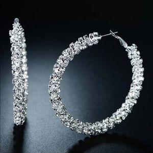 Silvertone Hoop Earrings With Swarovski® Crystals